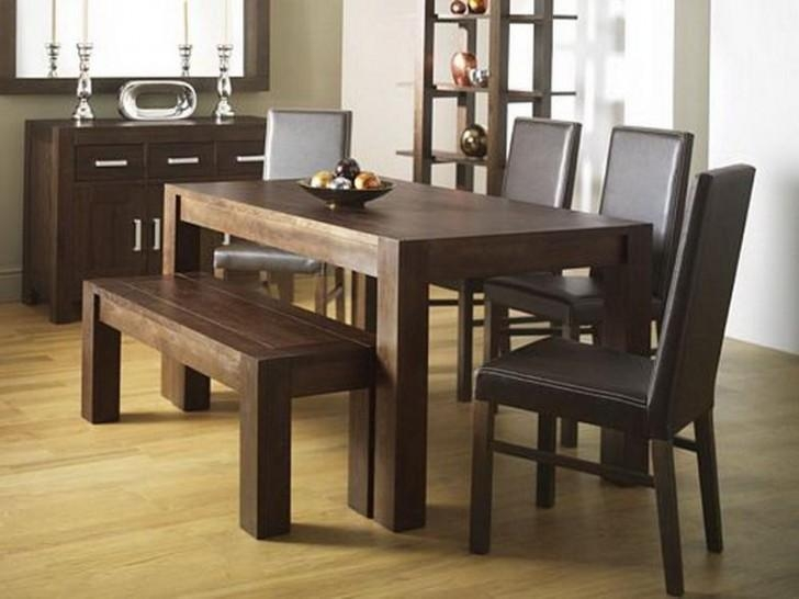 Rustic Dining Room Design With Walnut Wood Rectangular Dining Regarding Recent Dark Brown Wood Dining Tables (Image 18 of 20)