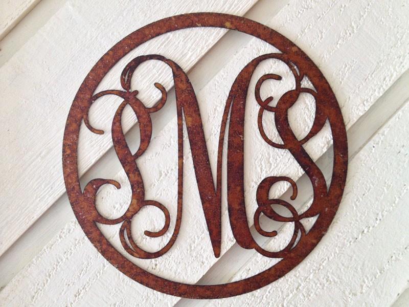 Rustic Metal Vine Monogram | Metal Vine Monogram | Wreath Monogram Within Monogram Metal Wall Art (View 7 of 20)