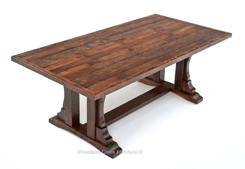 Rustic Oak Barn Wood Dining Table, Reclaimed Oak Table, Trestle Intended For Newest Rustic Oak Dining Tables (Image 13 of 20)