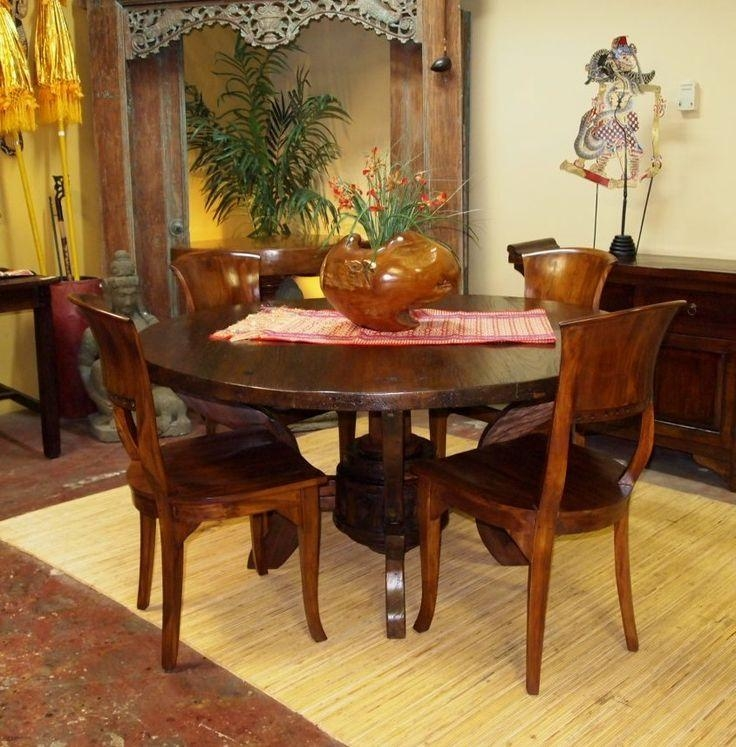 Rustic Round Dining Table Hand Crafted From Reclaimed & Teak With Regard To 2018 Bali Dining Sets (Image 18 of 20)