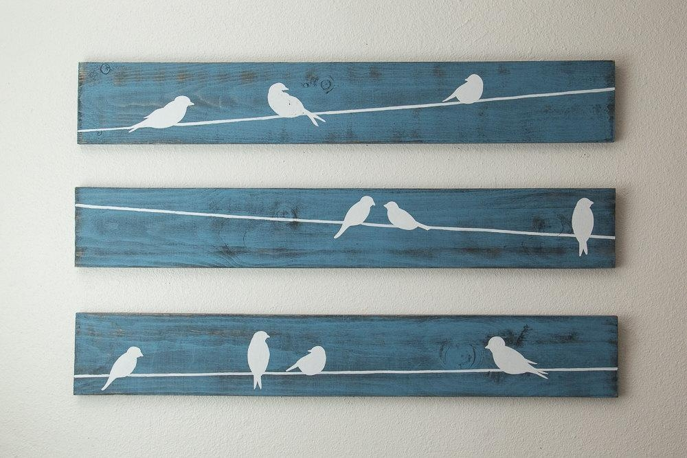Rustic Wall Art Birds On A Wire 3 Piece Set Large With Regard To Birds On A Wire Wall Art (View 3 of 20)