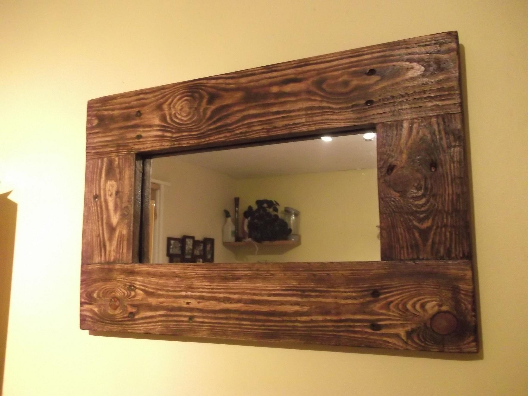 Rustic Wood Framed Diy Mirror Idea On Walls For Natural Decoration Within Natural Wood Framed Mirrors (Image 14 of 20)