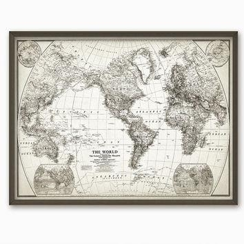 Rustic World Map Wall Art Poster – From Quantumprints On Etsy Intended For Vintage Map Wall Art (View 10 of 20)
