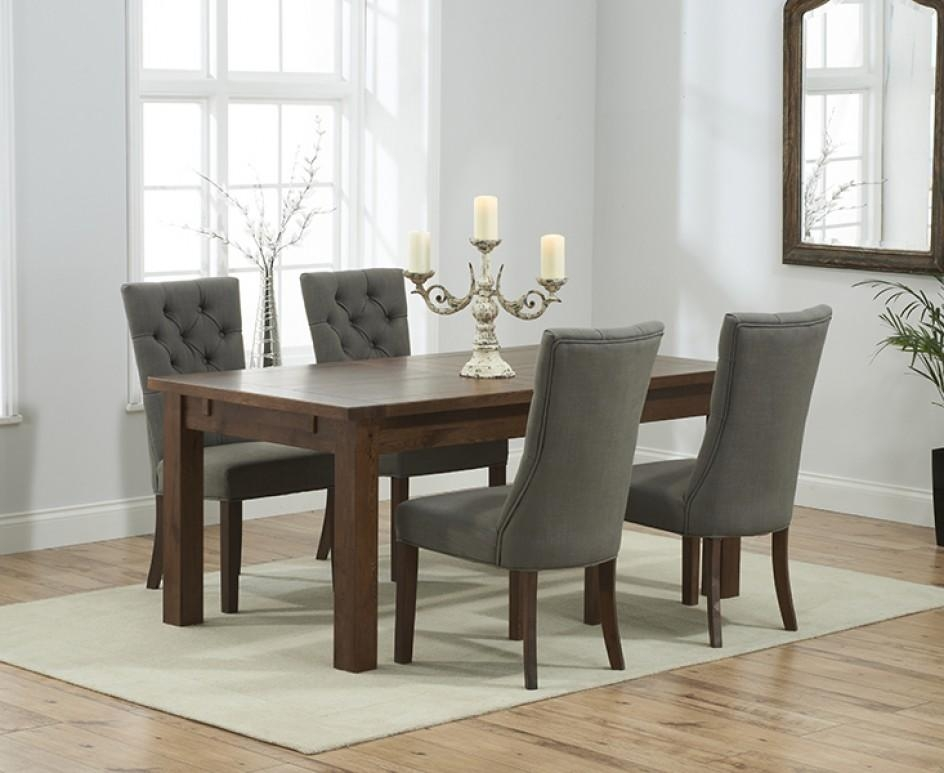 Rustique 150Cm Dark Solid Oak Extending Dining Table With Anais Within Most Current Oak Dining Tables And Fabric Chairs (Image 18 of 20)