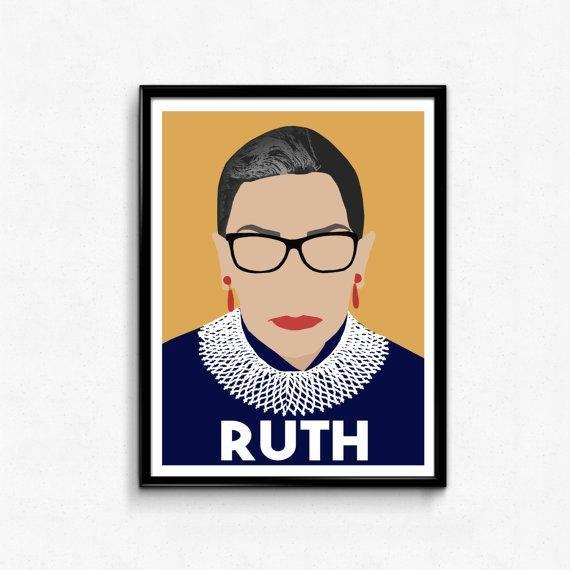 Ruth Bader Ginsburg Feminist Poster Print Feminist Wall Art Regarding Feminist Wall Art (Image 19 of 20)