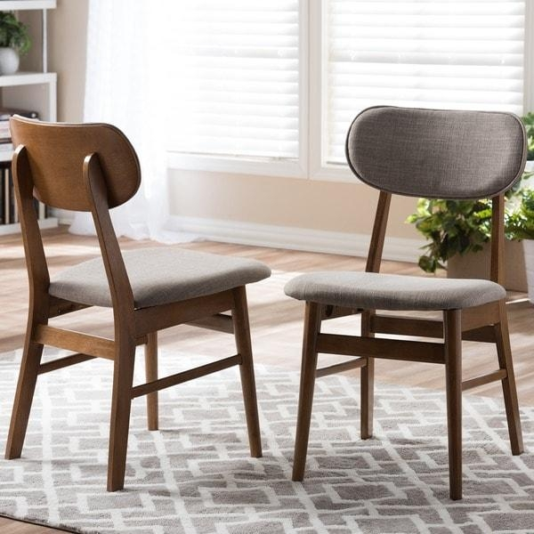 Sacramento Mid Century Walnut And Grey Fabric Dining Chairs (Set Within Most Up To Date Fabric Dining Chairs (Image 16 of 20)