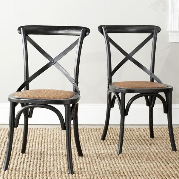 Safavieh Country Farmhouse Dining Bradford X Back Antiqued Black Within Current Black Dining Chairs (View 16 of 20)