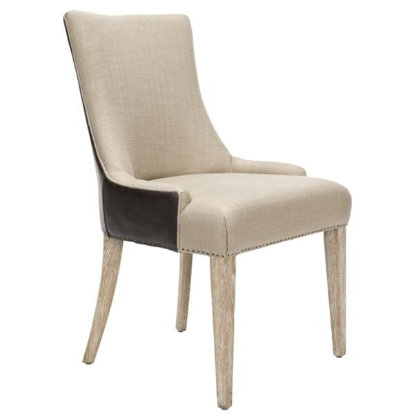 Safavieh En Vogue Dining Becca Cream Leather Dining Chair – Free Pertaining To Cream Leather Dining Chairs (Image 19 of 20)