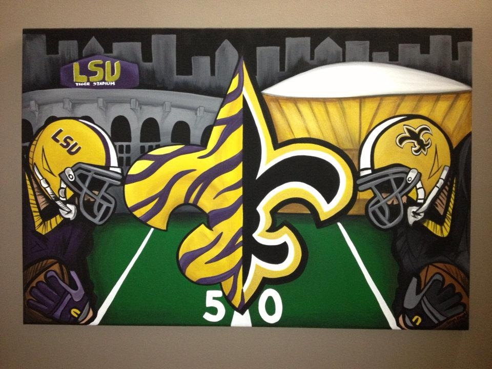 Saints And Lsu Combo Painting On Canvas Free Shipping (Image 17 of 20)