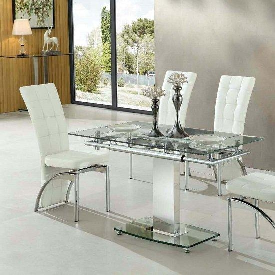 Samova Glass Dining Table In White High Gloss And Chrome With 2018 Chrome Glass Dining Tables (Image 14 of 20)