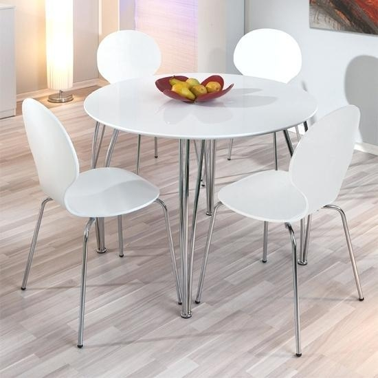 White Kitchen Tables And Chairs: Top 20 Round High Gloss Dining Tables