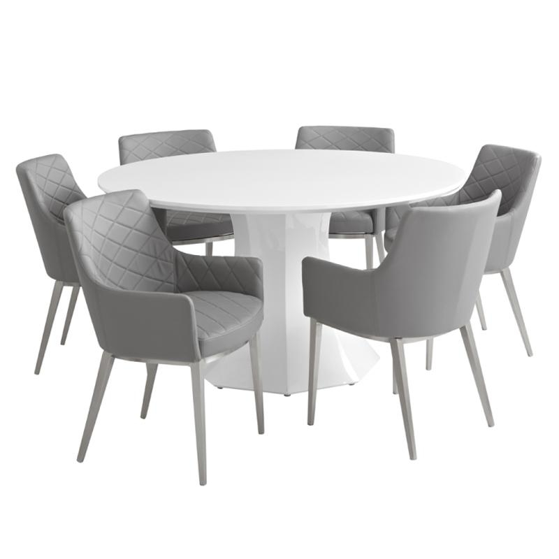 Sanara High Gloss White Round Dining Table | Buy Other Tables Inside 2017 Oval White High Gloss Dining Tables (Image 15 of 20)