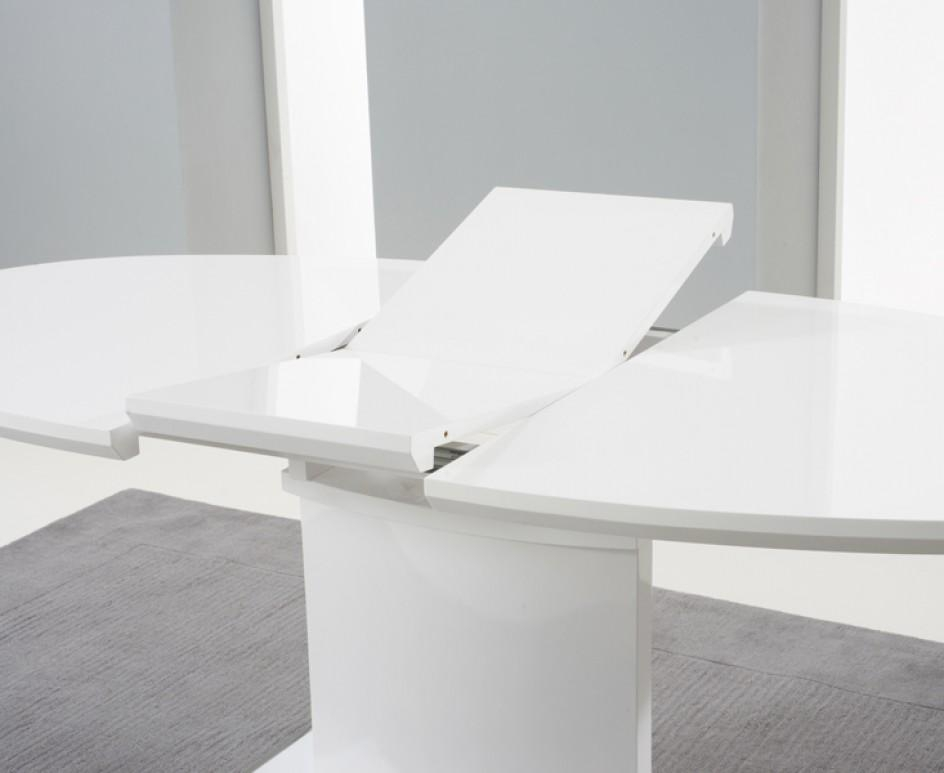 Santana 160Cm White High Gloss Extending Pedestal Dining Table Regarding Latest Oval White High Gloss Dining Tables (View 3 of 20)