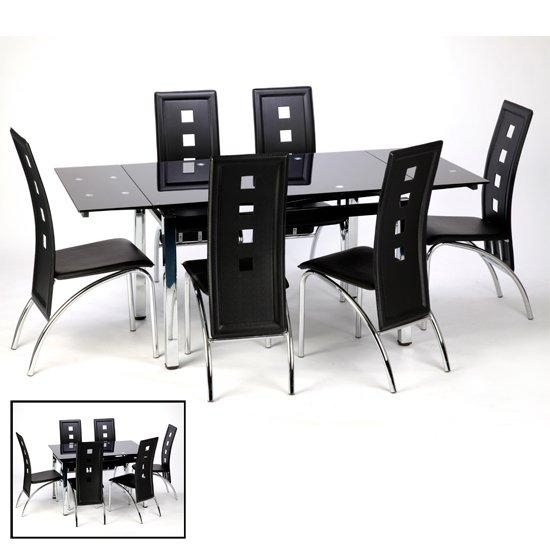 Sarah Glass Extendable Dining Table In Black With Chrome Within Most Up To Date Black Extending Dining Tables (Image 16 of 20)