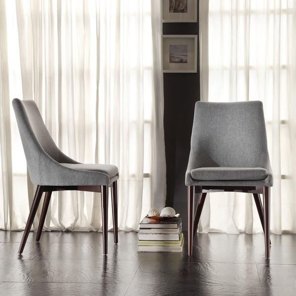 Sasha Mid Century Grey Fabric Upholstered Tapered Leg Dining Within 2018 Fabric Dining Chairs (Image 17 of 20)