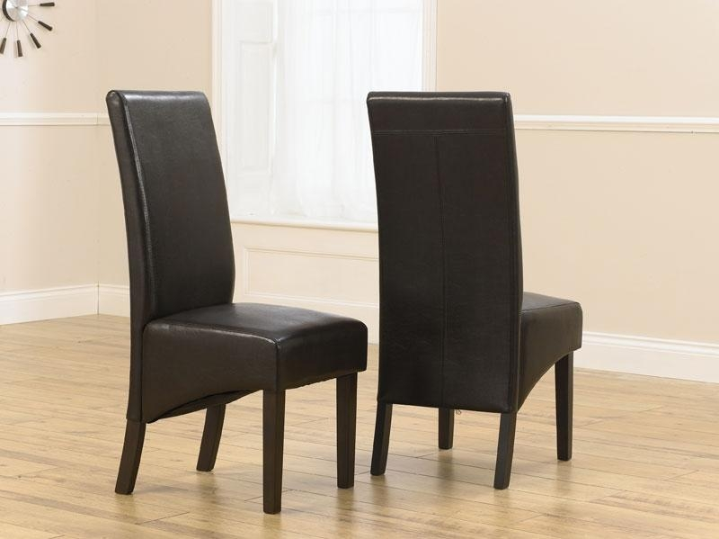Savanna Dark Oak Dining Chairs With Brown Faux Leather Seats Intended For Most Current Dark Brown Leather Dining Chairs (Image 17 of 20)