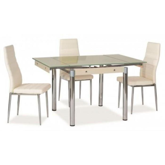 "Savannah"" Cream Glass Extendable Dining Table & 4 Chairs Within Most Up To Date Extendable Dining Tables And 4 Chairs (Image 15 of 20)"