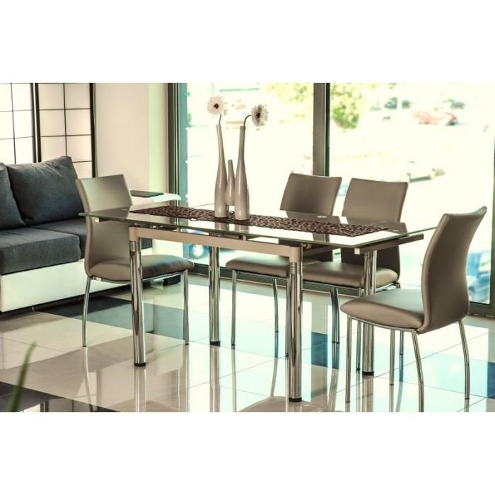 "Savannah Iii"" Beige Glass Extendable Dining Table & 6 Chairs With Extendable Dining Tables And 6 Chairs (View 7 of 20)"