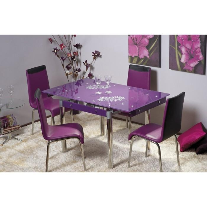 "Savannah"" Purple Glass Extendable Dining Table & 4 Chairs With Best And Newest Dining Tables And Purple Chairs (View 2 of 20)"