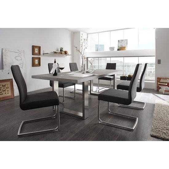 Savona Grey Dining Table With 8 Antigua Dining Chairs 23407 Inside Most Up To Date Grey Dining Tables (Image 20 of 20)