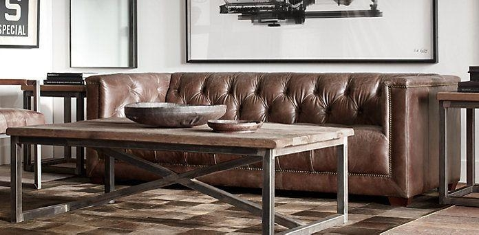 Savoy In Antiqued Ebony Or Cognac| Restoration Hardware | Nagel Regarding Savoy Sofas (Image 14 of 20)