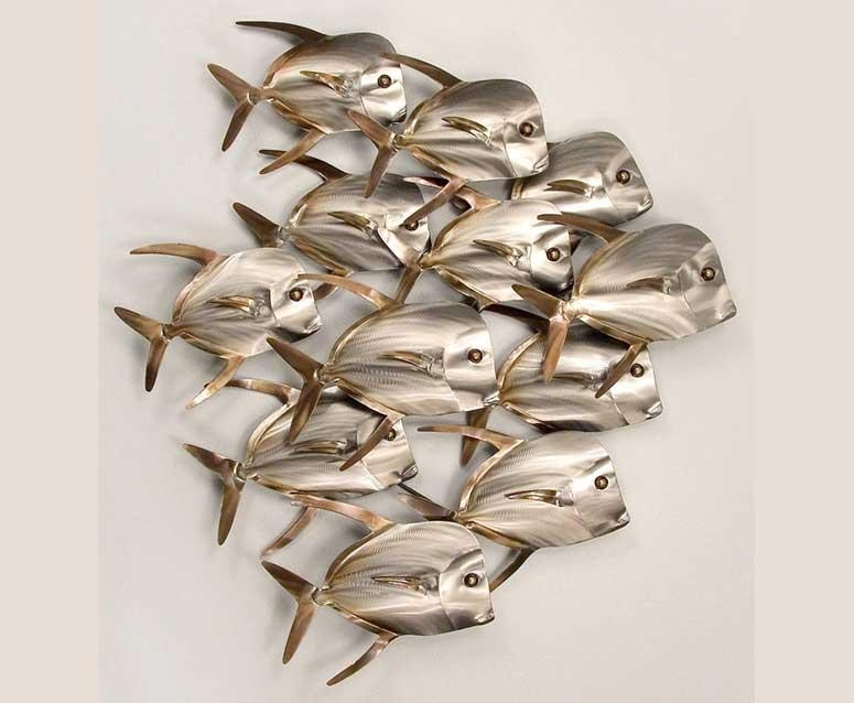 School Of Fish Metal Wall Art Metal Sculpture | Home Interior Within Metal School Of Fish Wall Art (Image 10 of 20)