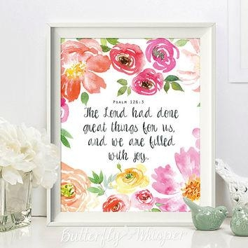 Scripture Wall Art Print, Bible Verse From Butterflywhisper On Within Christian Wall Art Canvas (View 16 of 20)