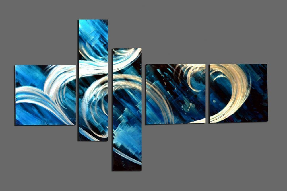 "Sea Wave Metal Wall Art Decor 40"" X 64"" Intended For Teal Metal Wall Art (Image 13 of 20)"