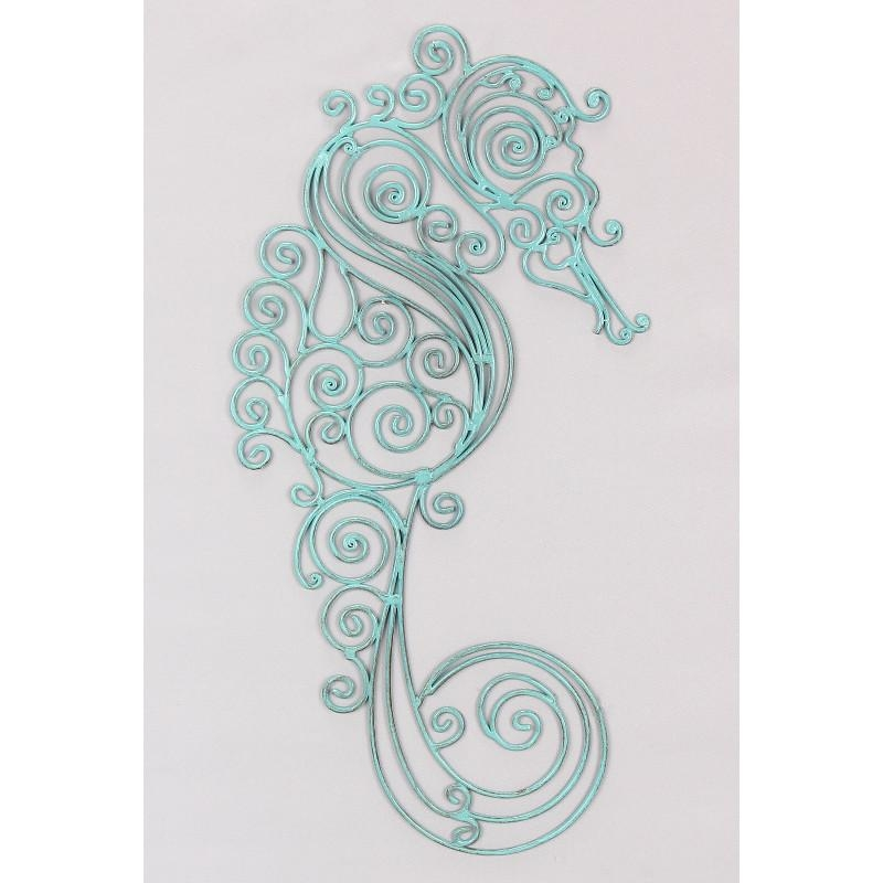 Seahorse Metal Wall Art Pertaining To Teal Metal Wall Art (Image 14 of 20)