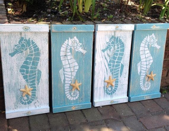 Seahorse Sign Wall Art Wood Wooden Beach House Decor One With Regard To Sea Horse Wall Art (Image 14 of 20)