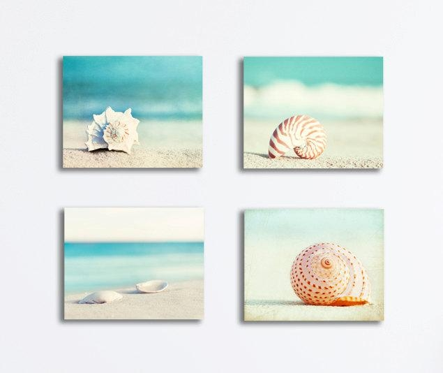 Seashell Canvas Print Set Beach Photography Four Canvas Within Seashell Prints Wall Art (View 15 of 20)