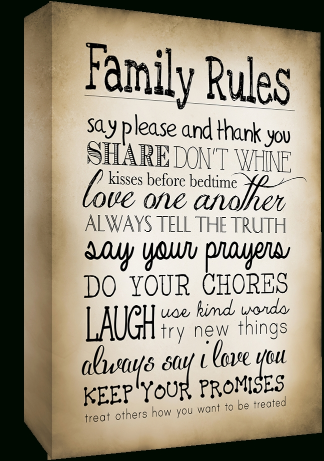 Sepia Family Rules Quote, Canvas Wall Art Picture Print All Sizes Regarding Family Rules Canvas Wall Art (View 12 of 20)