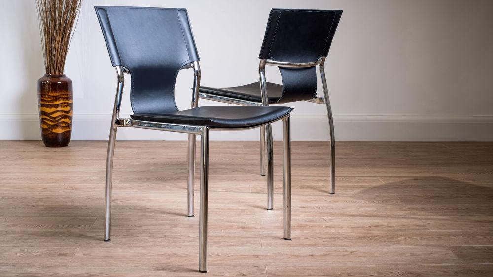 Serroni Trendy Chrome Dining Chair | Modern Black Or White Faux Intended For Latest Chrome Leather Dining Chairs (View 5 of 20)