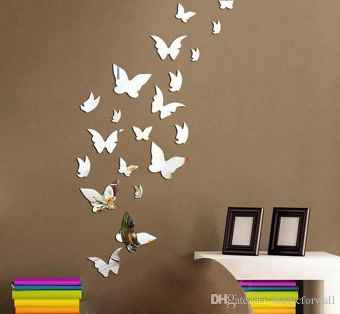 Set 3D Butterfly Mirror Effect Wall Decal Sticker Diy Home With Regard To Wall Art Deco Decals (Image 14 of 20)