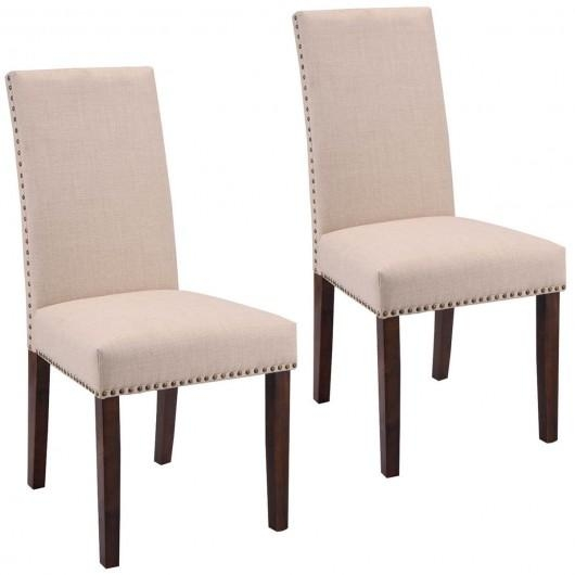 Set Of 2 High Back Armless Fabric Dining Chairs – Kitchen & Dining In Recent Fabric Dining Chairs (Image 18 of 20)