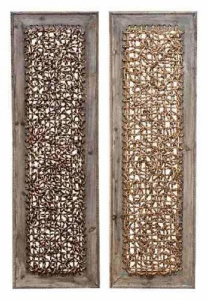 Set Of 2 Rustic Wood Woven Rattan Wall Art Panel Western African In Wicker Rattan Wall Art (Image 5 of 20)