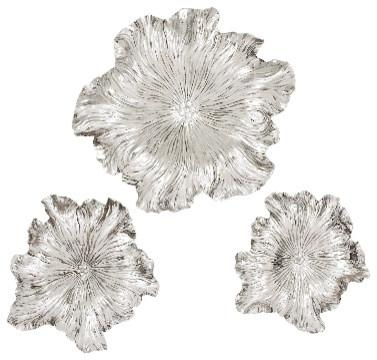 Set Of 3 Round Metal Flowers Wall Plaques Floral Finish Accent Pertaining To Silver Metal Wall Art Flowers (View 13 of 20)