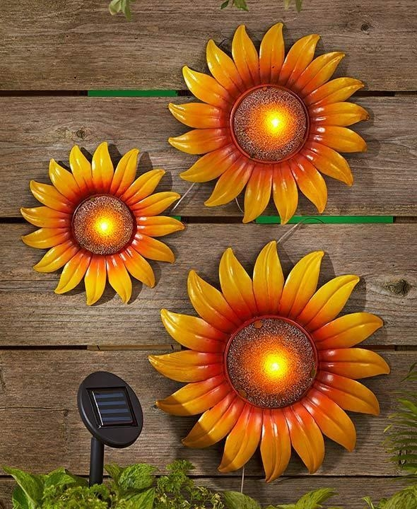 Set Of 3 Solar Lighted Metal Sunflower Wall Hangings Wall Art In Metal Sunflower Wall Art (View 8 of 20)