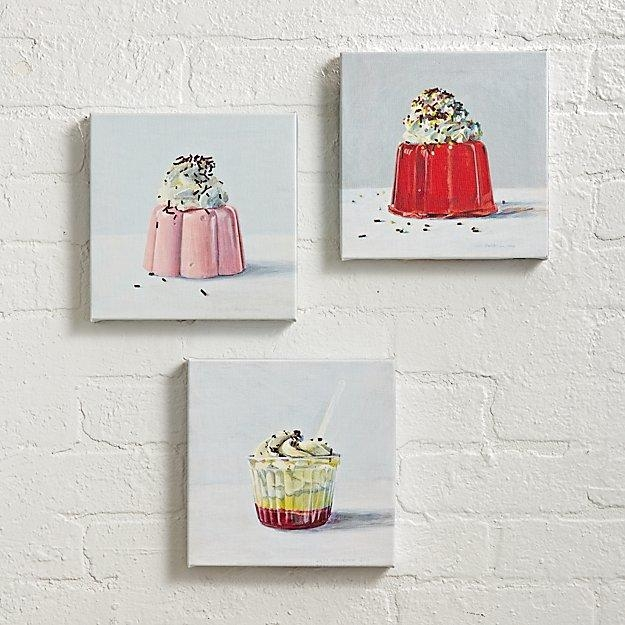Set Of 3 Sweet Treats Wall Art | The Land Of Nod For Wall Art Sets Of (View 18 of 20)