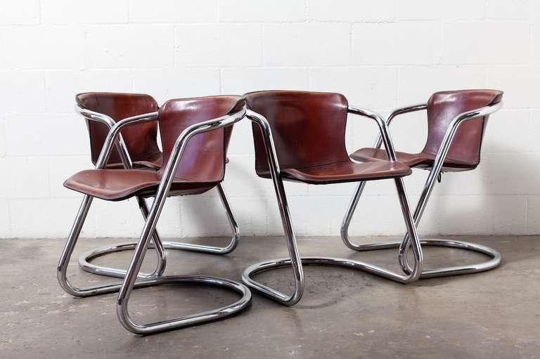 Set Of 4 Leather And Chrome Dining Chairs At 1Stdibs Inside Most Current Chrome Dining Chairs (Image 16 of 20)
