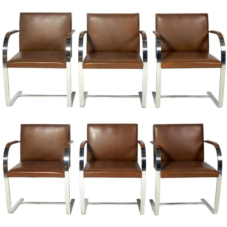 Set Of Six Knoll Brno Chrome And Leather Dining Chairs At 1Stdibs Regarding Best And Newest Chrome Leather Dining Chairs (View 6 of 20)