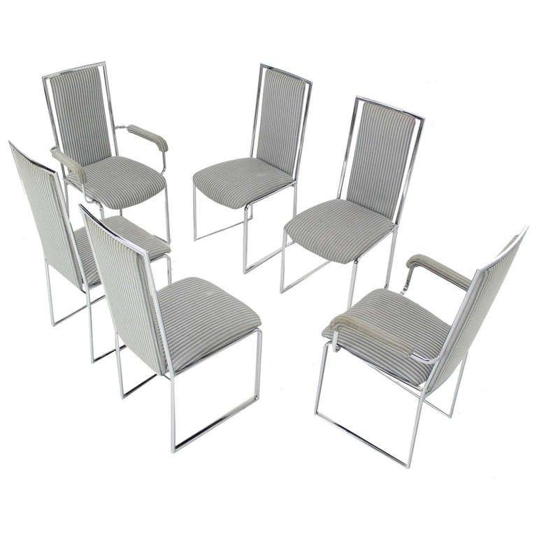 Set Of Six Mid Century Modern Chrome Dining Chairs At 1Stdibs Pertaining To Newest Chrome Dining Sets (Image 17 of 20)