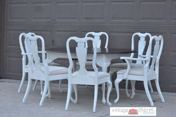Shabby Chic White Dining Table And Chairs Intended For Newest Shabby Chic Dining Chairs (View 6 of 20)