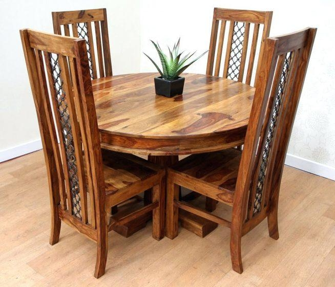 Sheesham Dining Table And Chairs Dining Tables Sheesham Dining With Regard To Most Recent Sheesham Dining Tables And 4 Chairs (Image 14 of 20)