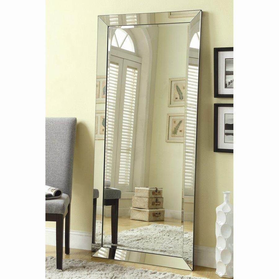 Shop Coaster Fine Furniture Silver Beveled Frameless Floor Mirror Inside Framed Floor Mirrors (View 16 of 20)