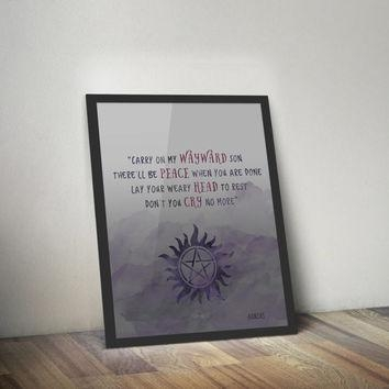 Shop Fandom Art On Wanelo Regarding Supernatural Wall Art (Image 11 of 20)