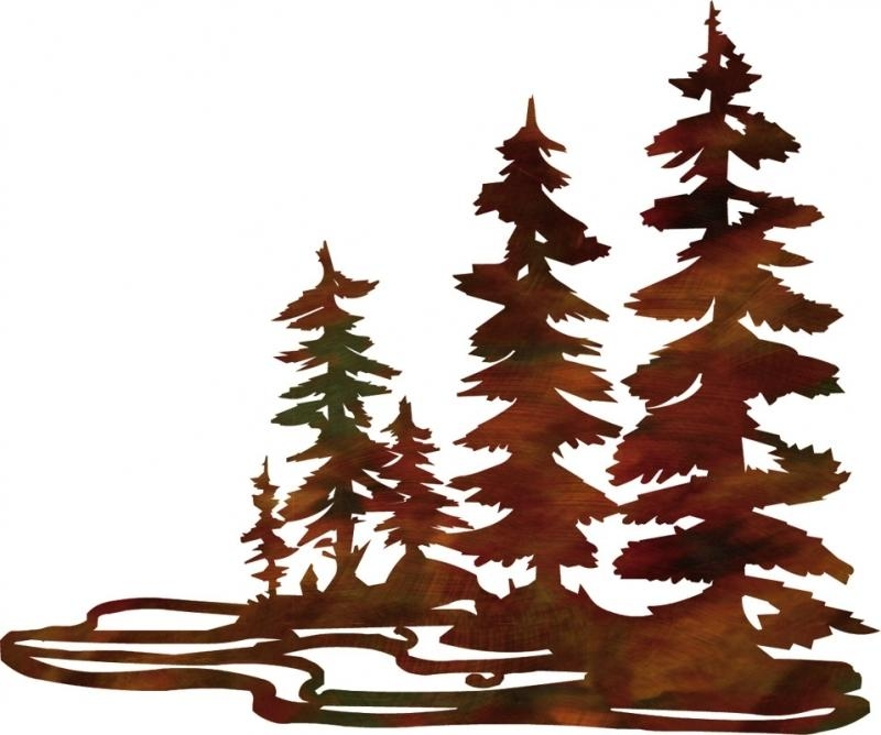 Shop Houzz 3D Pine Trees Rustic Metal Wall Art 20 Artwork Metal With Metal Pine Tree Wall Art (View 8 of 20)
