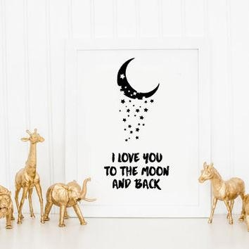 Shop Love You To The Moon And Back Wall Art On Wanelo In Love You To The Moon And Back Wall Art (Image 17 of 20)