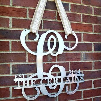Shop Monogram Metal Door Wreath On Wanelo With Regard To Monogram Metal Wall Art (Image 11 of 20)