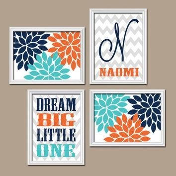 Shop Navy Chevron Nursery On Wanelo For Orange And Blue Wall Art (Image 19 of 20)
